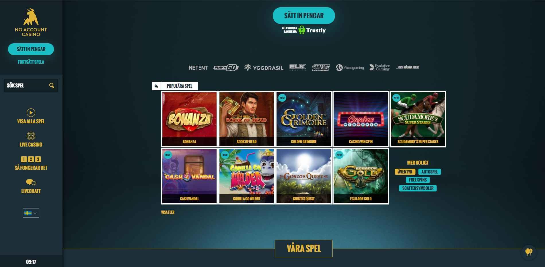 no account casino screenshot
